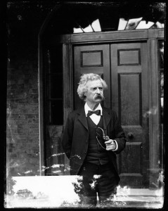 Mark Twain Posing at the Front Door